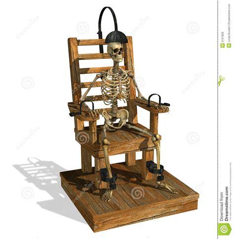 elektrischer stuhl elektrischer stuhl mit dem skelett lizenzfreies stockbild