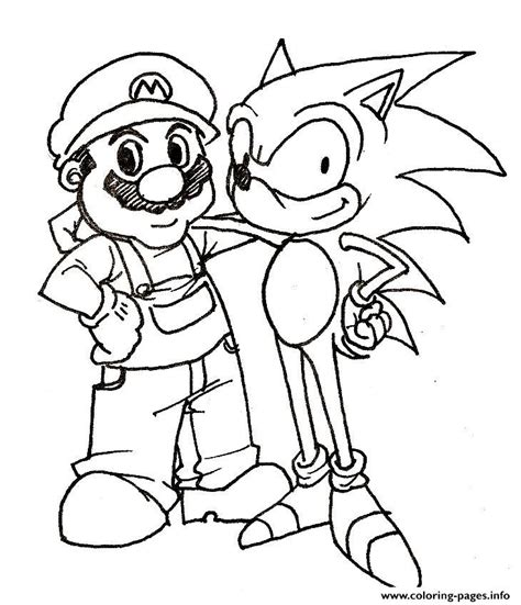 mario and his friend sonic coloring pages printable