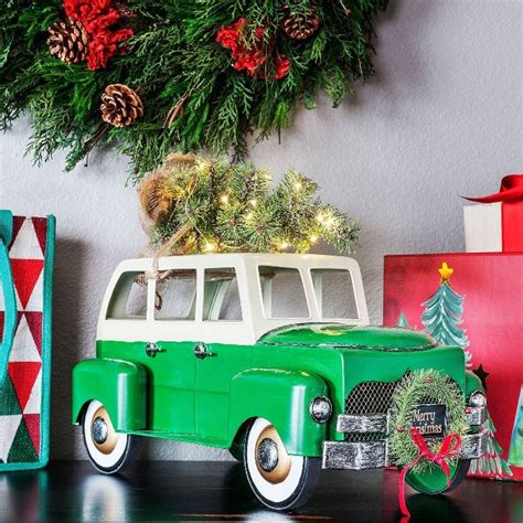 red christmas vintage pick ups for sale truck and station wagon with lit tree and wreath for sale