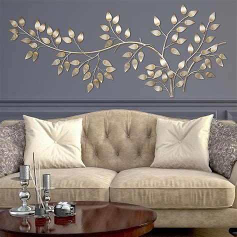 at home wall decor stratton home decor brushed gold flowing leaves wall decor