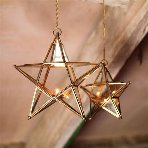 hanging zinc  brass  glass star tealight holder
