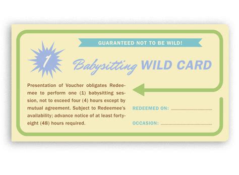 free printable gift certificates for babysitting 9 best images of printable babysitting voucher free