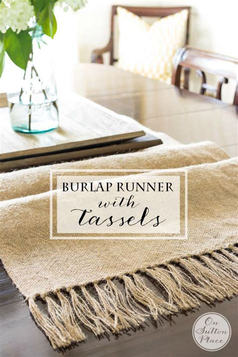 sew easy table diy burlap table runner with tassels on sutton place