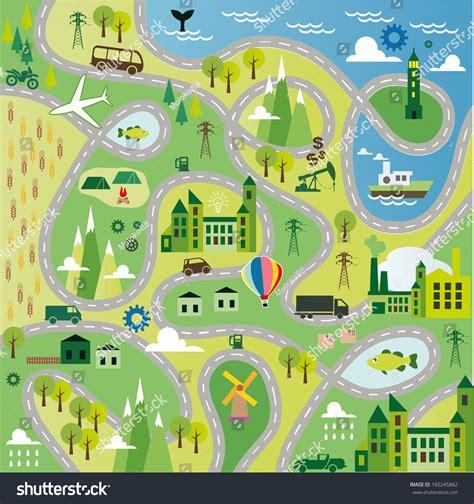 road layout en français cartoon map seamless pattern roads stock vector 165245882