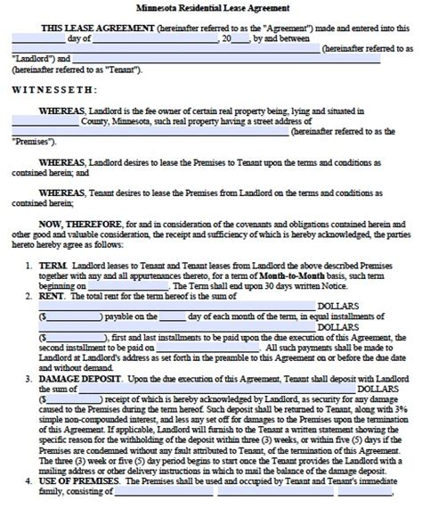 Rent Credit Form Minnesota Free Minnesota Residential Lease Agreement Pdf Template