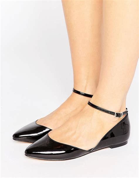 pointed flat sandals faith ali asymmetric pointed flat shoes in black lyst