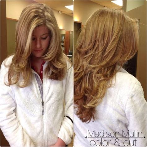 medium length hair with lots of layers natural highlight lots of layers highlights around face