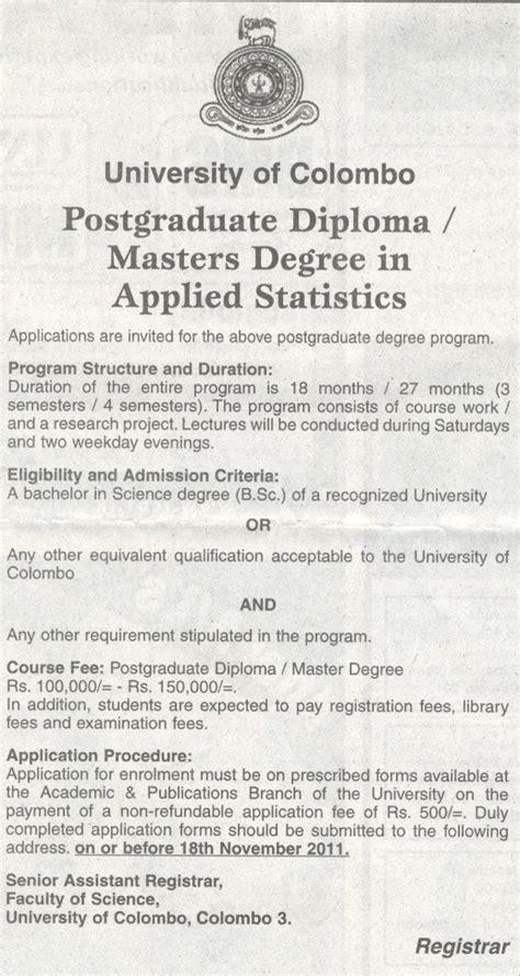 Post Graduate Diploma Vs Mba by Postgraduate Diploma Masters Degree In Applied Statistics