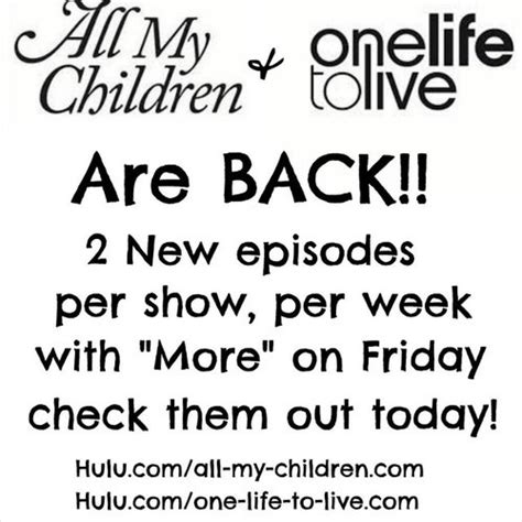 all my children and one life to live revivals have a 17 best images about quot one life to live quot is back on