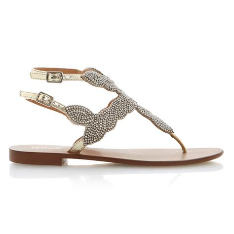 dune karper leather beaded toe post sandals in metallic lyst