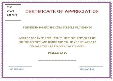 certificate of appreciation for teachers template free certificate of appreciation template purple border