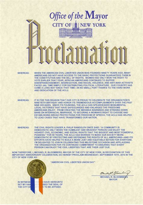 new year proclamation september 15th quot aclu day quot in new york city american
