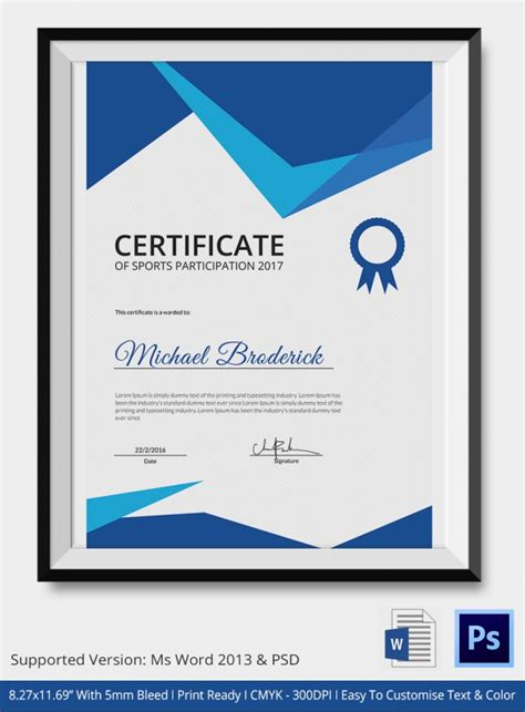 certificate design sports sports achievement certificate 5 word psd format