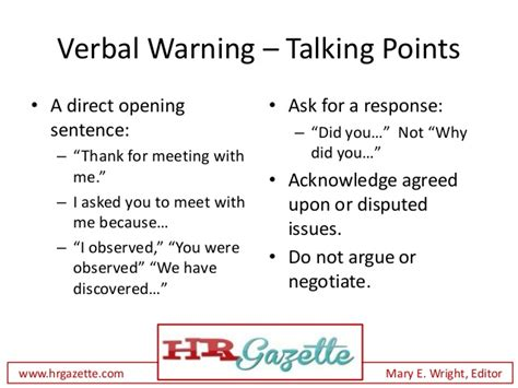 how to deliver a verbal warning to an employee plus