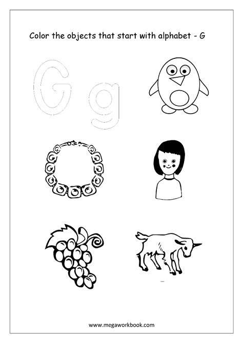 colors that start with g alphabet picture coloring pages things that start with
