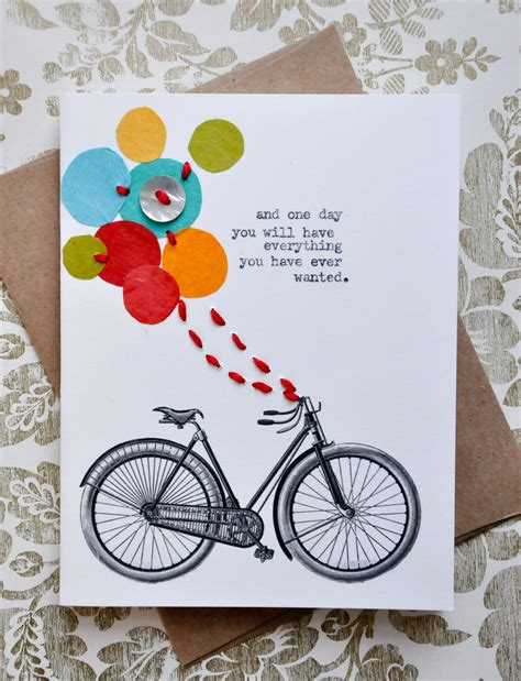 Handmade Greeting Card Designs For Birthday - birthday card handmade greeting card bicycle balloons