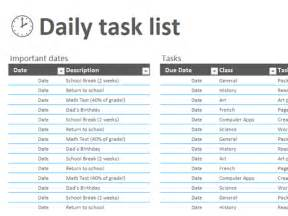 daily task list templates office