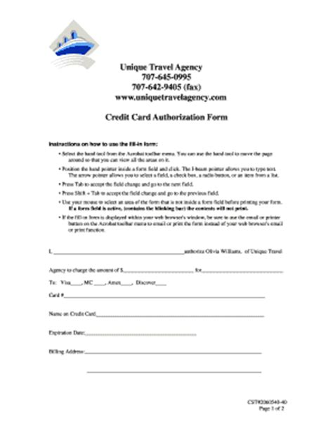 credit card authorization form template for travel agency form of a traveller card pictures fill printable