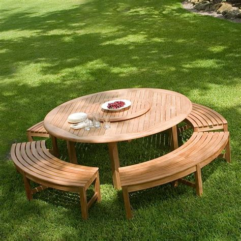 circular picnic benches round teak picnic table westminster teak outdoor furniture