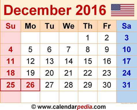 December 2016 Calendar Landscape ? 2017 printable calendar