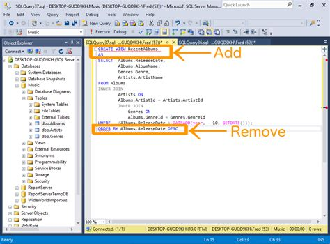 layout server view html sql server 2016 create a view
