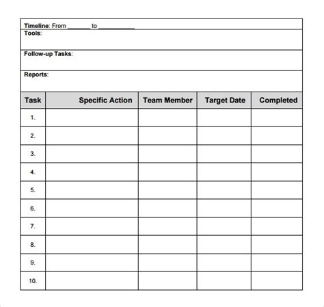 5 free action plan templates free printables word excel
