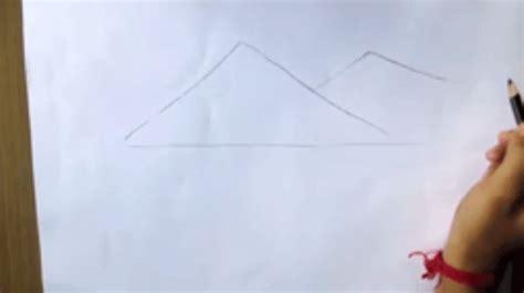 tutorial menggambar gunung menggambar pemandangan alam pegunungan untuk pemula dengan