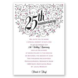 wording for 25th wedding anniversary invitations 25th wedding anniversary invitation template