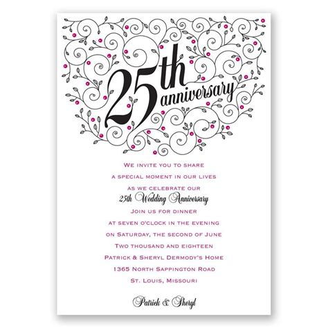 anniversary cards templates personalized anniversary invitations personalized 25th