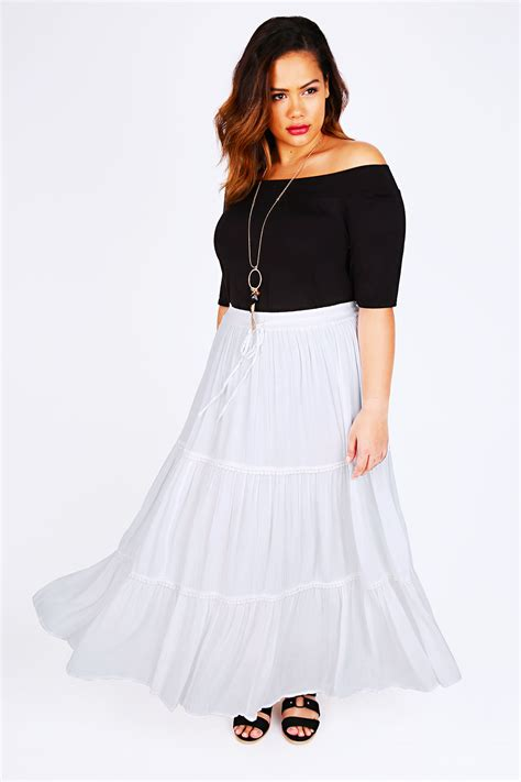 white maxi skirt with crochet detail plus size 14 to 36