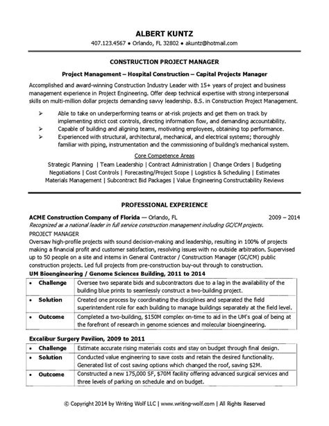 construction project management resume exles construction project manager resume writing wolf