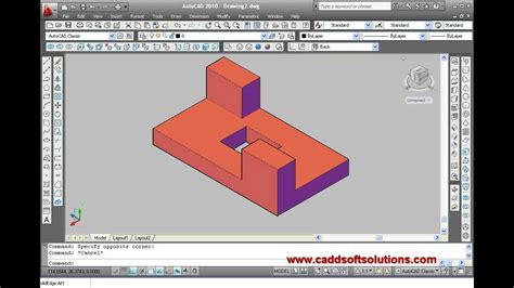 autocad tutorial with commands autocad 3d beginner video tutorial create first 3d