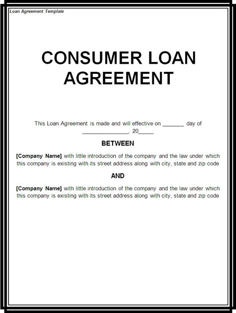loan template loan document free printable documents