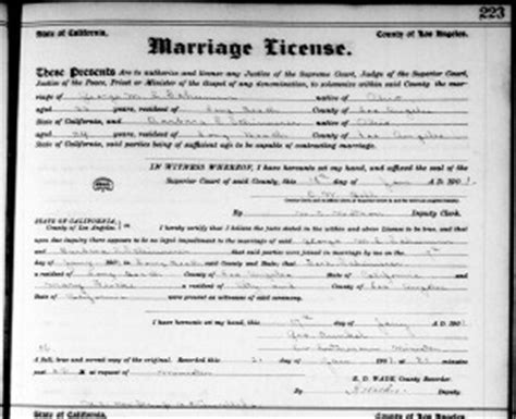 Record Of Marriage Licenses In California Schumm Schinnerer California Wedding 1901 187 S Chatt