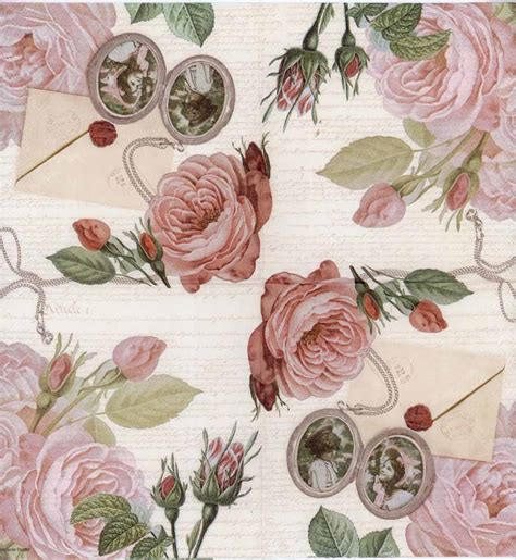Napkin Decoupage Shop - decoupage paper of roses and photo brooches