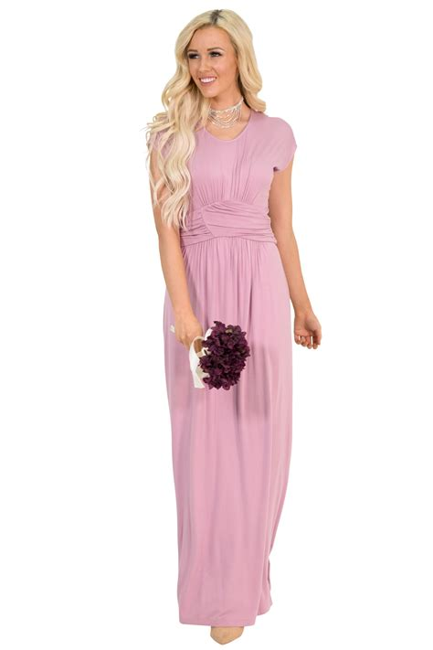 Dhanny Virna Dusty Pink Ay quot athena quot modest maxi dress w ruched empire waist in mauve