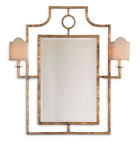 Mirror With Sconces doheny regency bamboo gold leaf mirror with sconces kathy kuo home