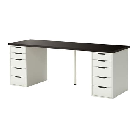 linnmon alex table black brown white ikea