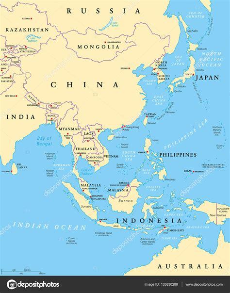 east asia political map politick 225 mapa v 253 chodn 237 asie stock vektor 169 furian