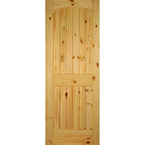 Interior Pine Doors Builder S Choice 30 In X 80 In 2 Panel Solid Unfinished Arch Top V Grooved Knotty Pine