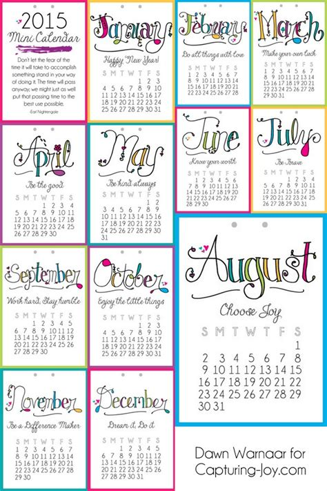 printable mini quotes 2015 printable mini calendar capturing joy with kristen duke