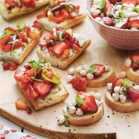 no cook office christmas party food strawberry bruschetta recipe myrecipes