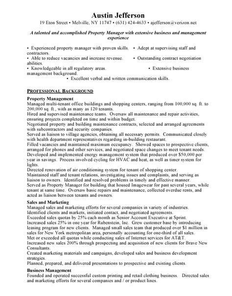 property manager sample resume talented property management
