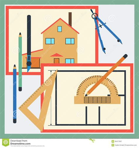 house drawing tool house drawing vector illustration royalty free stock photography image 36477697