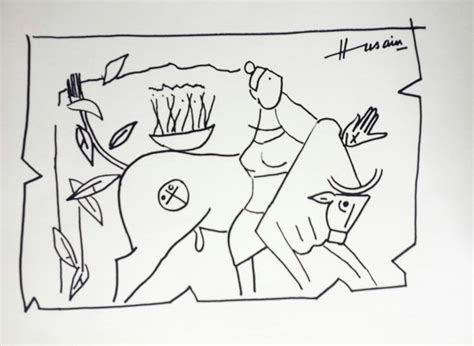 M F Hussain Sketches by Untitled By Artist M F Husain Illustration Drawing