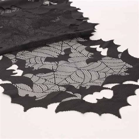 batty and bench halloween going batty black lace table runner fall and