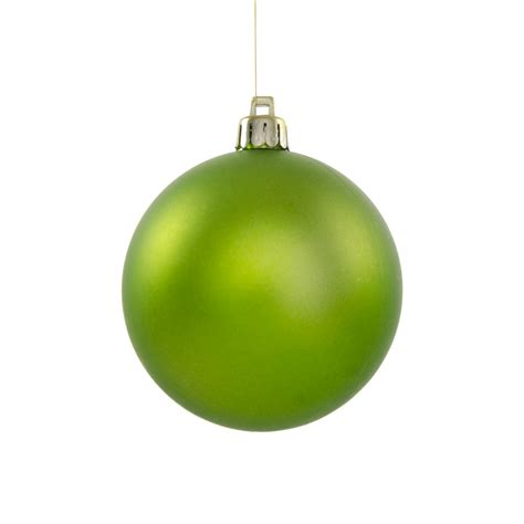 80mm round smooth metallic ball ornament matte lime green