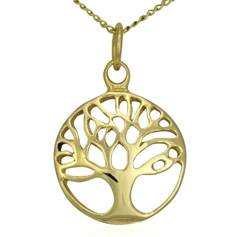 tree shop in ct solid 9ct gold tree of pendant charm necklace chain