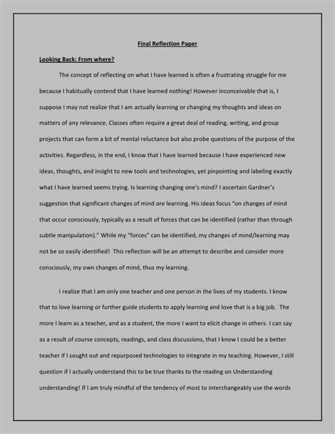 How To Make A Reflection Paper - reflection paper