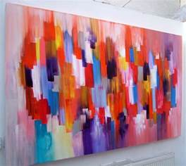 Red Kitchen Splashbacks - large abstract art canvas painting dante a sold piece of orange and red art